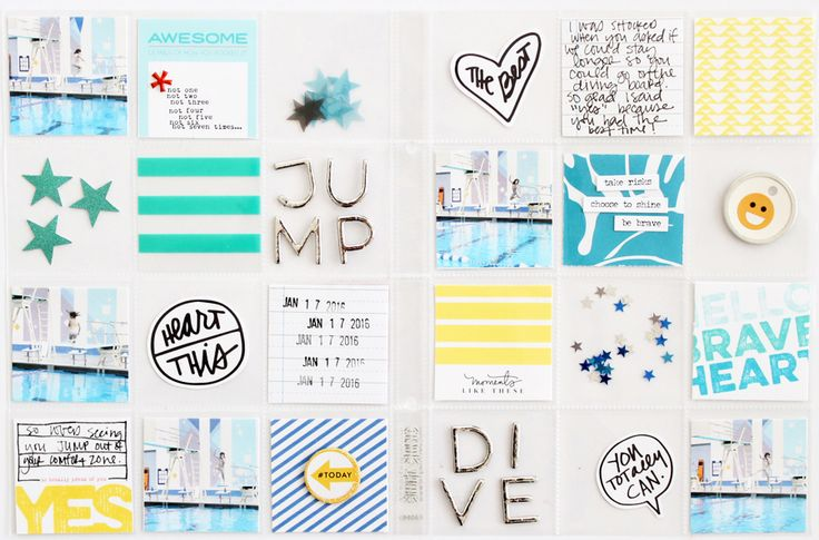 Jump & Dive 6x8 double spread using Ali Edwards' February 2016 releases // www.kelseyespecially.com