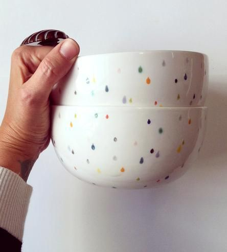 Raindrop Ceramic Cereal Bowls – Set of 2 by Sprout Studio