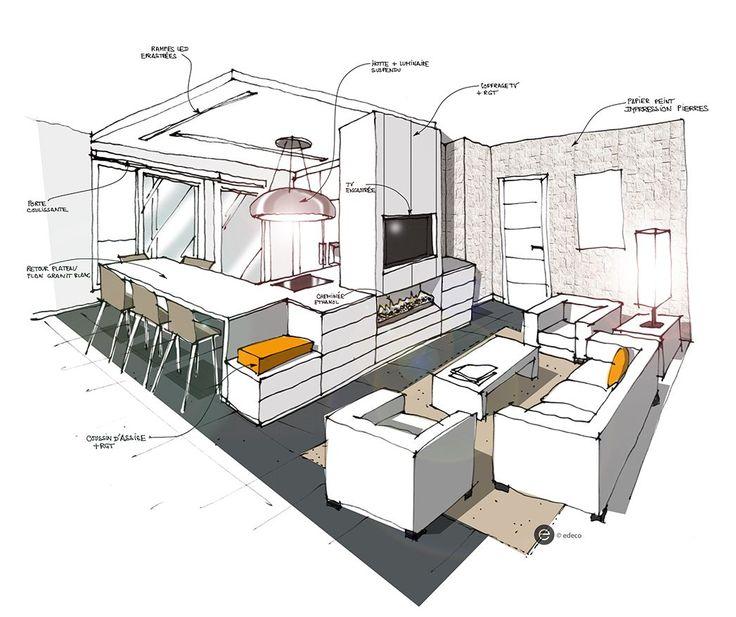 Cuisine ouverte sur salon blanc - Croquis Architecture Intérieure- Dominique JEAN pour EDECO Rénovation