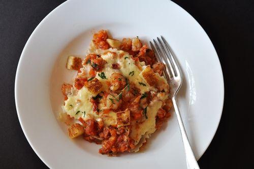 Crab and prawn lasagna.