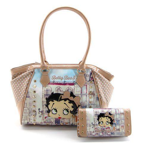 Betty Boop PBB1037BG Premium Handbag Wallet Set, Beige Purse, 2014 Spring - http://handbagscouture.net/brands/betty-boop/betty-boop-pbb1037bg-premium-handbag-wallet-set-beige-purse-2014-spring/