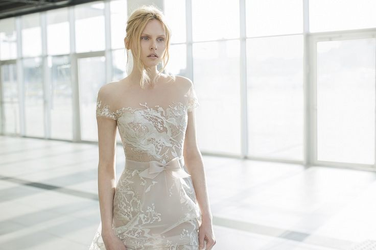 Sienna : Nude organza short sleeve dress with abstract lace - Mira Zwilinger 2016 wedding dress stardust collection | fabmood.com: