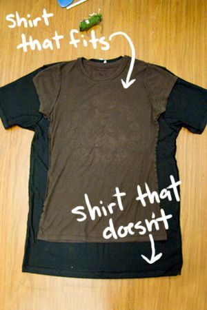 Turn a giant shirt into a fitted tee! For all those large oversized shirts you said you'd never wear