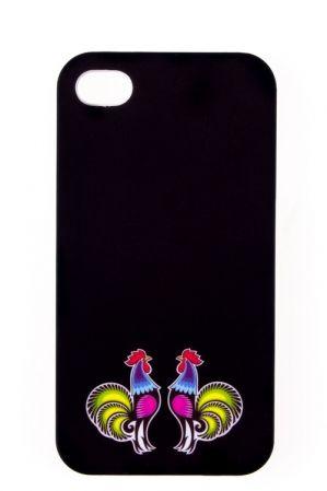 Etui na iPhone 4 czarne FOLK BIRDS - tradycyjna wycinanka łowicka - koguciki, folk, etui folk