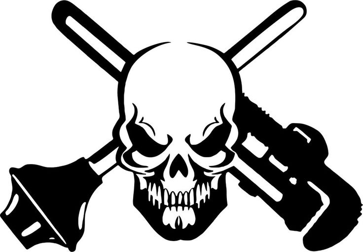 details about skull plumber plunger pipe wrench car truck window laptop vinyl decal sticker. Black Bedroom Furniture Sets. Home Design Ideas
