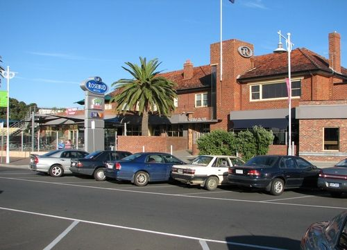 Rosebud Hotel (2009). First opened in January 1939, this was the first hotel in the town's history. Situated directly opposite the beach and it is right in the heart of the shopping centre