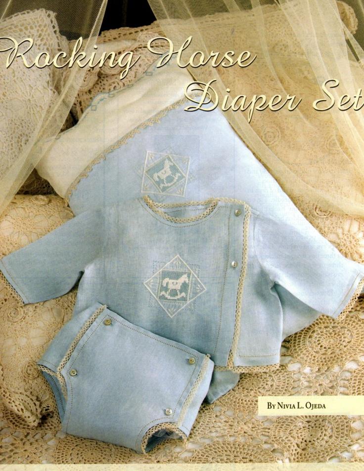 #121 Nov/Dec 08 - Rocking Horse Diaper Set, long-sleeve, side-button shirt & diaper cover