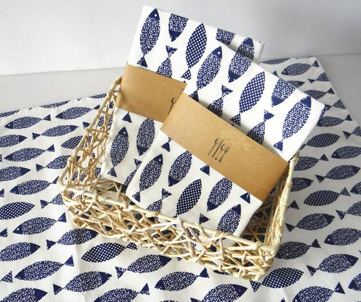 Eco-friendly Cotton Placemat Pad Napkin Blue Fish Pattern Dining Table Mats Table Pad Coaster Table Decoration Kitchen wares