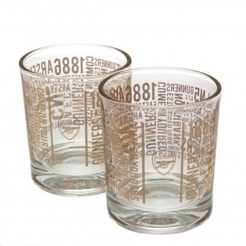 A pair of beautifully styled Arsenal FC whiskey glasses featuring the club crest and repeated iconic Arsenal wording. FREE DELIVERY ON ALL GIFTS