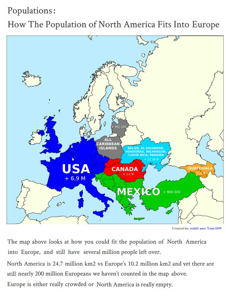 How the populations of North America fit into Europe. Population sizes comparisons.  Comparaisons de tailles de populations. Les populations comparées à l' Europe.