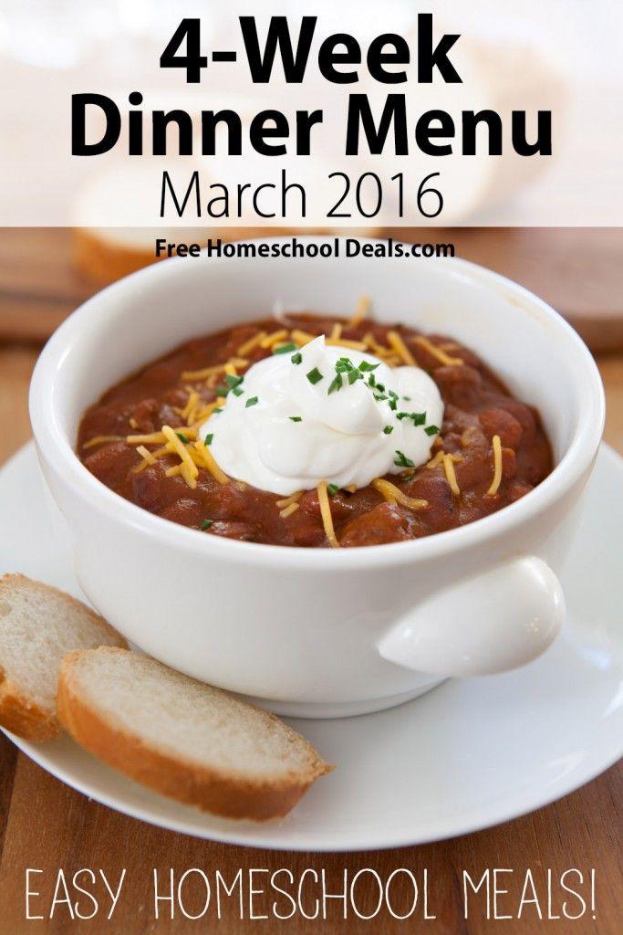 Free Printable 4-Week Easy Dinner Menu Plan!