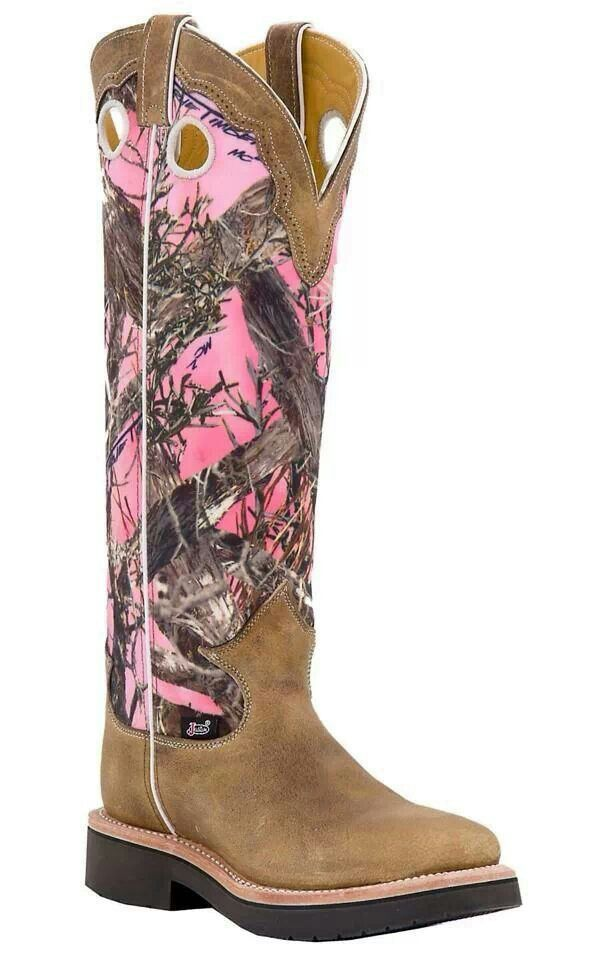 Justin Pink Camo Snake Boots Pink Camo For The Ladies