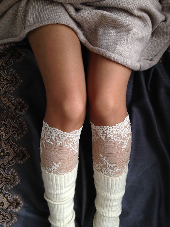 Lace Boot Cuff Socks Beige Nude lace  boot by VANAGScreative