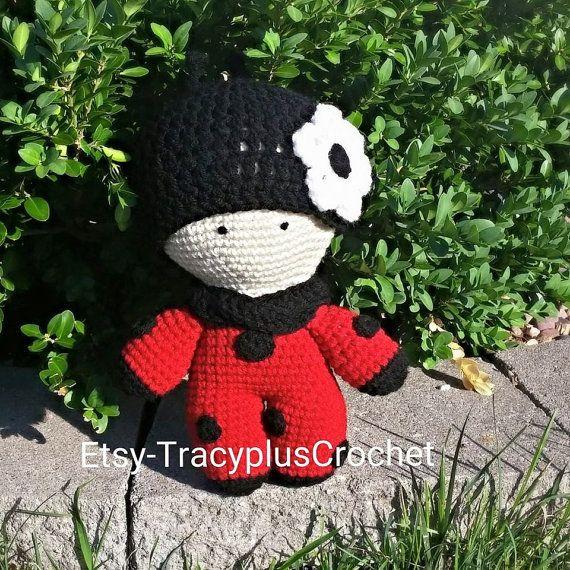 Ladybug doll. Crochet Ladybug doll. Big head doll. Doll with hat. Handmade…
