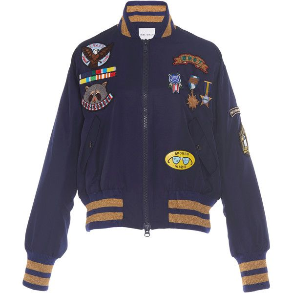 Mira Mikati Scout Patch Military Bomber Jacket ($1,290) ❤ liked on Polyvore featuring outerwear, jackets, navy, knit jacket, navy blue military jacket, blouson jacket, flight jacket and military bomber jacket