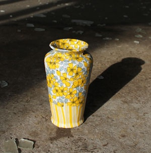 Lacarriere vase - ceramic covered in vintage fabric.