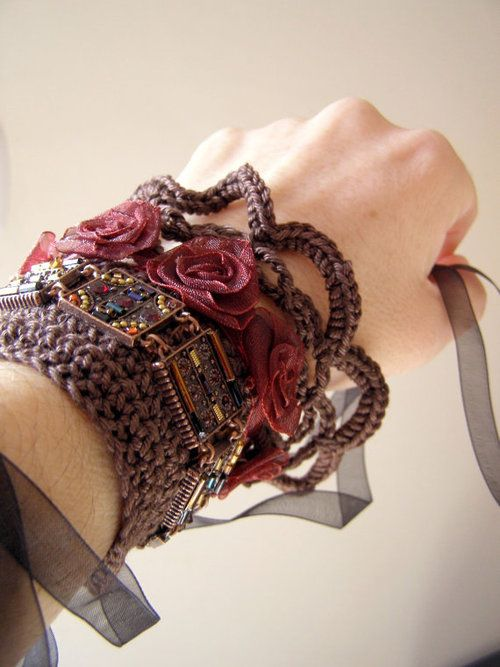 Cuff Bracelet gothic crochet knitting mixes material by miShMeSH
