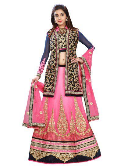 Pink Chiffon Lehenga Choli with Embroidery Work