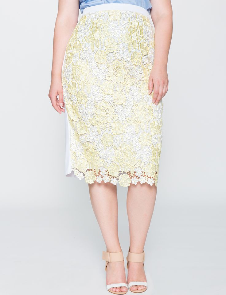 Two-Tone Lace Pencil Skirt Limelight