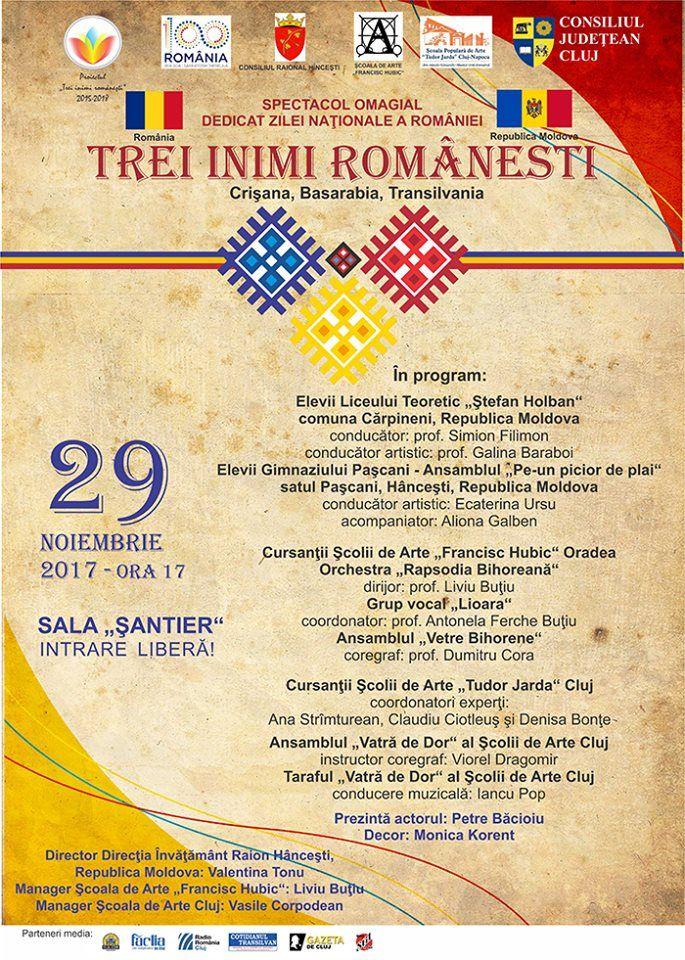 "Spectacol folcloric ""Trei inimi româneşti – Crişana, Basarabia, Transilvania"""