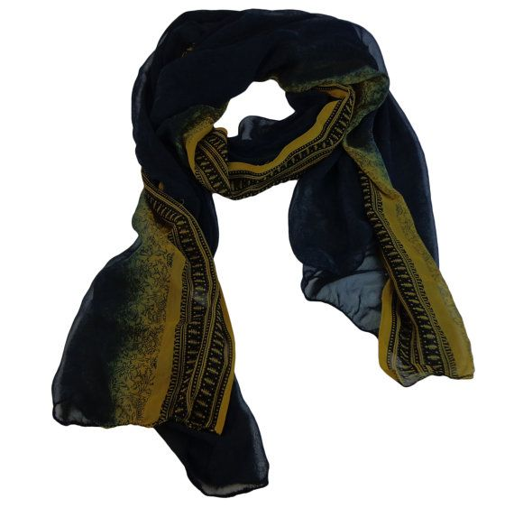 Space Cadet Blue And Yellow  Colour Scarf $19.99    Visit EpicMart.ca
