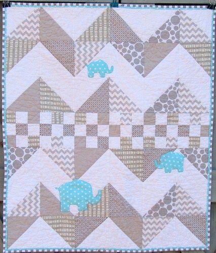 Modern Baby Quilt Elephant Baby Quilt Gray Aqua Blue  Chevron Zig Zag                                                                                                                                                                                 More