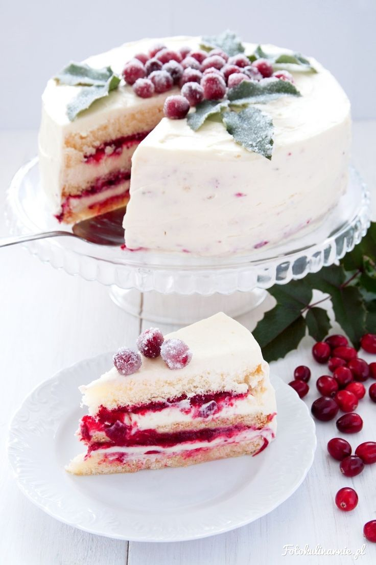 Cranberries and White Chocolate Winter White Cake with Sparkling Decorations.