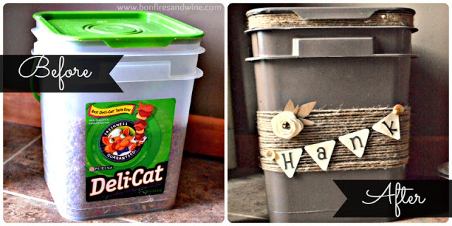 DIY Pet Food Container Makeover...aww should make this for boba
