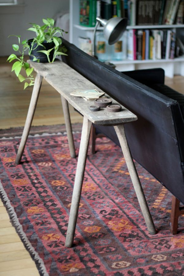 Farmhouse Table, Console Table Vintage item from 1900 - 1909. Simple and whimsical design. By Blood & Champagne.  At: Behind The Sofa