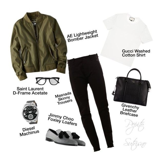 """Inspired by Jokowi's Bomber Jacket 'brand:Zara'"" by pepito-sutrisno on Polyvore featuring MASNADA, American Eagle Outfitters, Gucci, Jimmy Choo, Givenchy, Diesel, Yves Saint Laurent, men's fashion and menswear"