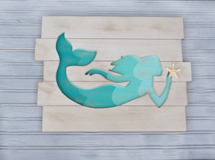 Mermaid Wall Decor. Mermaid Decor. Mermaid with Shell. Mermaid. Beach Decor. Nautical Decor. Coastal Decor. Nursery, Little Girls Room by SandCastlesAndSpurs on Etsy https://www.etsy.com/listing/494721825/mermaid-wall-decor-mermaid-decor-mermaid