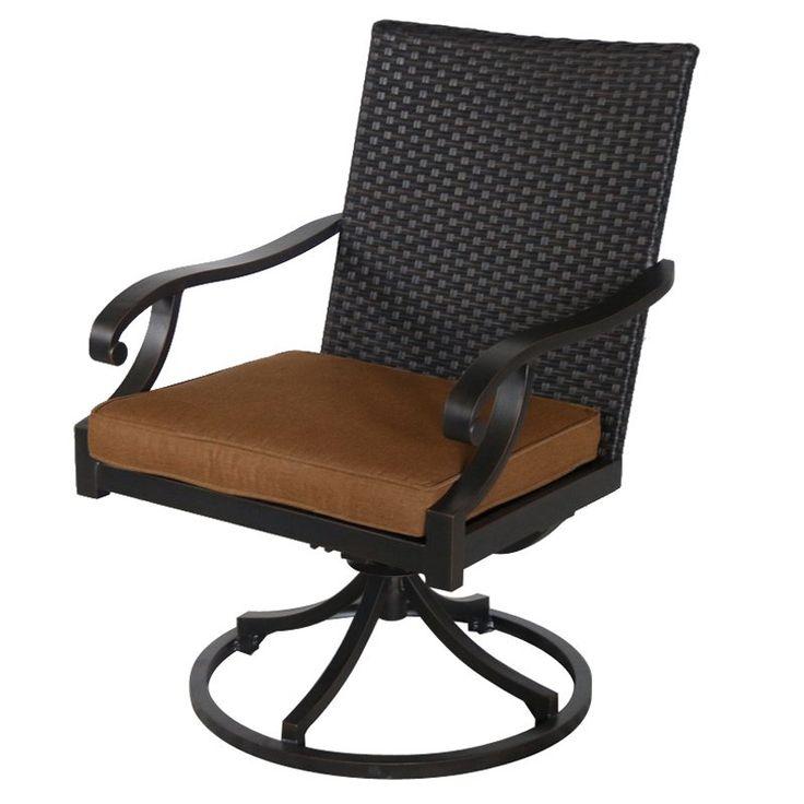 Royal Garden Summer Wicker Outdoor Swivel Dining Chair - Set of 2 Teak - A145200-02-SCCT