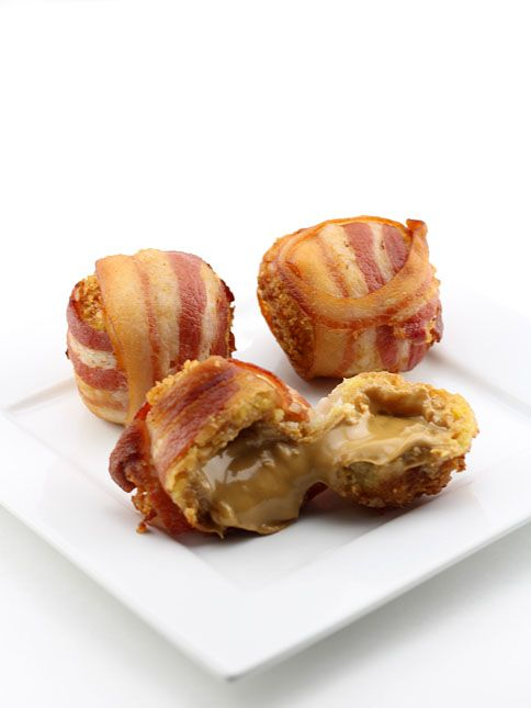Deep Fried Bacon Wrapped Peanut Butter Balls~I will probably never make this, but OMG is this for real?!?!