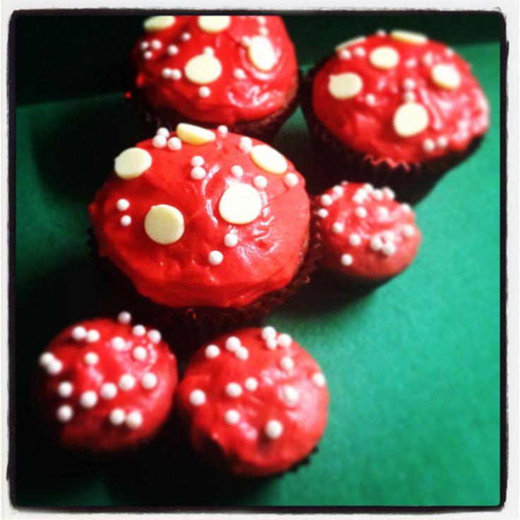 Magic Mushroom cupcakes! Red velvet flavored
