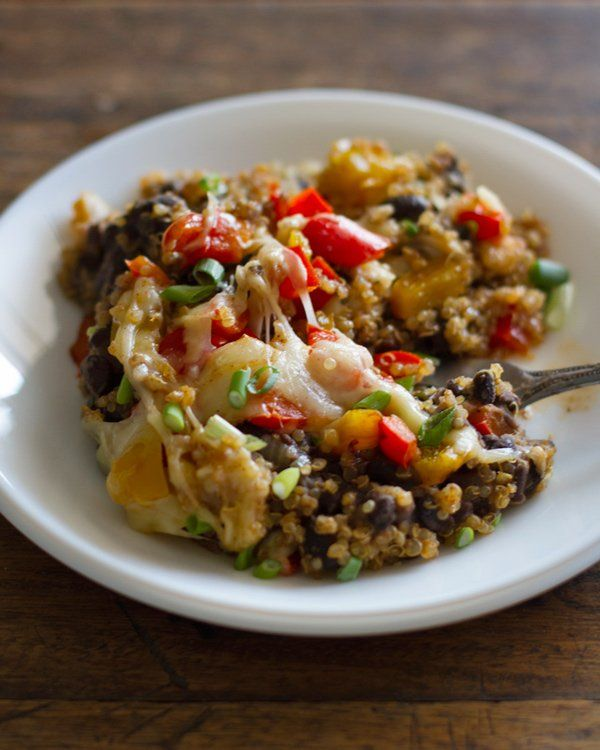 Quinoa Black Bean Casserole... Delicious on its own or with tortilla chips. Very flavorful and not too spicy, I will be making this again!