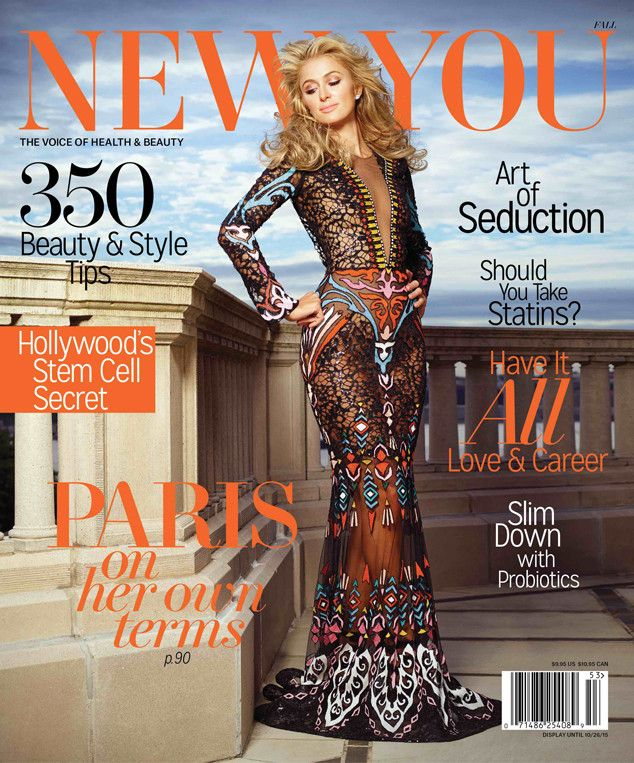 Pairs Hilton, New You from September 2015 Magazine Covers  The 34-year-old slips into sexy sheer number for her New You cover, and dished to the mag about growing up post-Simple Life days.