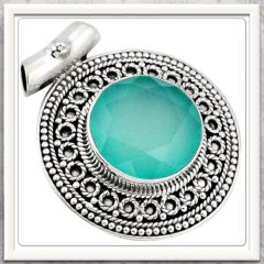 ***ENCHANTING COLOUR***10.48 CTS NATURAL AQUA CHALCEDONY GEMSTONE .925 STERLING SILVER PENDANT