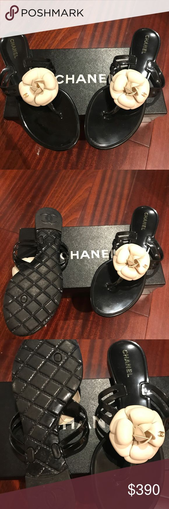 Authentic Chanel camellia jelly sandals Authentic Chanel camellia jelly sandals in good condition. Size 41. Chanel shoes run half to a full size smaller than US size. CHANEL Shoes Sandals