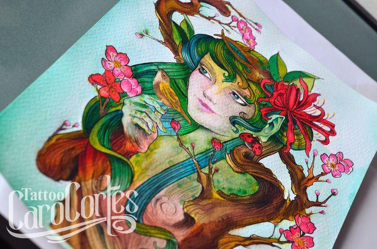 CARO CORTES WATERCOLOR Caro cortes Colombian tattoo artist. http://carocortes.tumblr.com/ http://www.carocortes.com/ #watercolor #painting #acuarela #pintura #carocortes #carocortestattoo #tatuadora