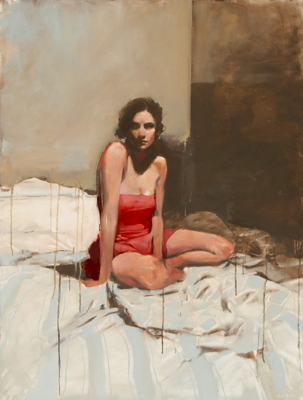 """Michael Carson """"Waiting is the Hardest Part"""" """"48 x 36"""" oil on board"""