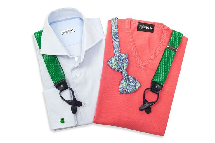 V-neck pink jumper, blue shirt, green suspenders, and bowtie by SOLOiO.  www.soloio.com