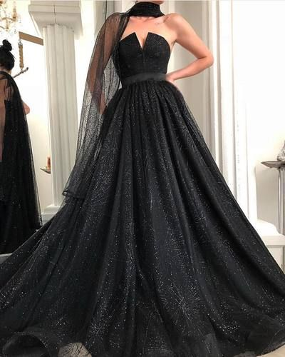 3798f53f4974 Sparkly Sequins Black Ball Gown Prom Dress