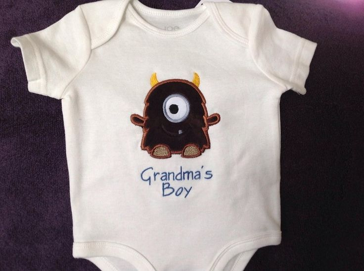 Monster grandmas boy onesie, $20.00. Made by Tempting Threads Embroidery, check them out on Facebook... https://www.facebook.com/temptingthreadsembroidery