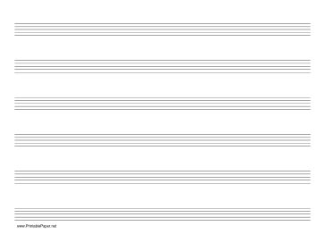 This letter-sized music (manuscript) paper has six staves and is in landscape (horizontal) orientation. Free to download and print