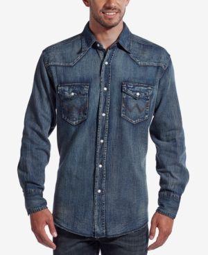 Wrangler Men's Authentic Western Style Long Sleeve Shirt - Blue XXL