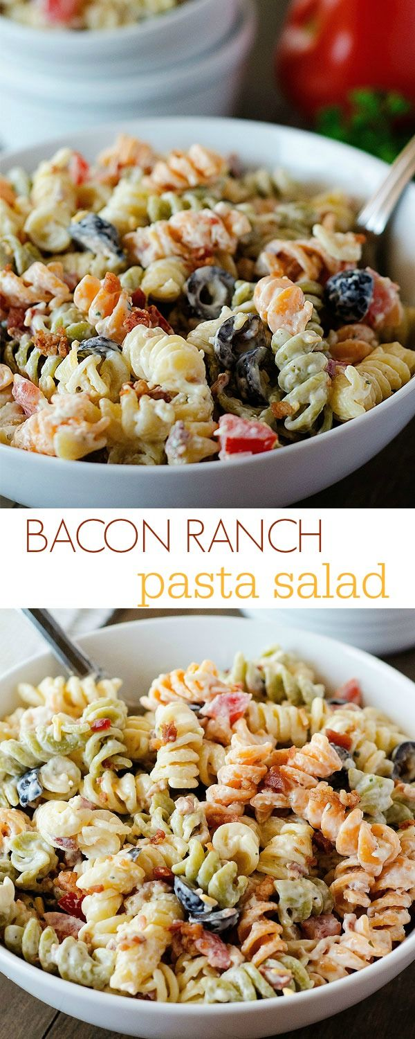 Rotini pasta coated in a creamy Ranch dressing, bacon and lots of other goodies. This pasta salad is always a hit!