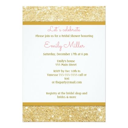 Gold Glitter Pink Damask Bridal Shower Invitation - glitter gifts personalize gift ideas unique