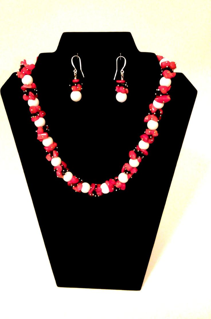 STATEMENT Necklace Earrings Set in HANDMADE. Necklace White Coral Round Beads. Natural Red Coral Beads. Burlesque Style. Boho Style. by GECHELINE on Etsy