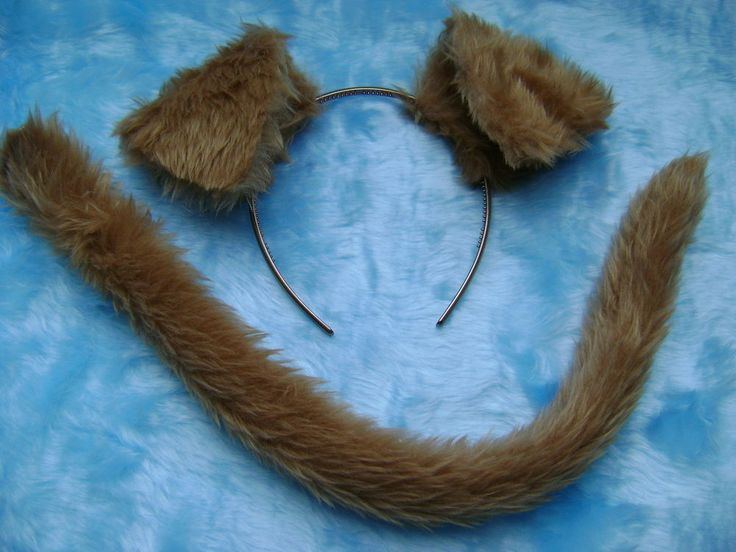 Puppy Dog Ears And Tail Set Light Brown Faux Fur Instant Fancy Dress One Size