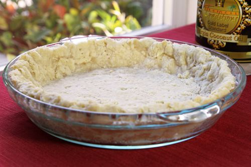 Wanted to use up some fresh fruit but didn't have any butter for a pie crust...et voila, coconut oil pie crust!